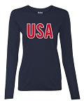 Ladies Long Sleeve USA T-Shirt
