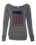 Ladies Dark Grey Marble Wideneck Sweatshirt