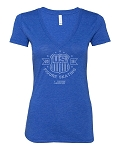 Ladies Navy Triblend Deep V-Neck Tee