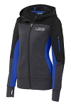 Ladies Tech Fleece Colorblock Full-Zip Hooded Black/Graphite/Heather Royal Jacket