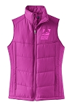 Ladies Bright Berry/Bermuda Purple Puffy Vest