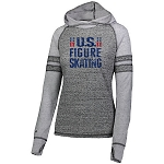 US Figure Skating Lightweight Raglan Black/Silver Hoodie