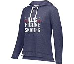 U.S. Figure Skating Navy Heather Waffle Knit Hoodie