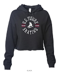 US Figure Skating Black Cropped Hoodie