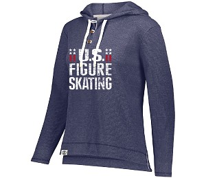 US Figure Skating Navy Heather Waffle Knit Hoodie