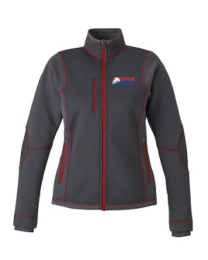Pulse Women's Carbon/Red Textured Bonded Fleece Jacket